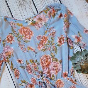 92430b87114 Billabong Pants - Billabong Floral Bell Sleeve Boho Romper